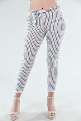 Τρίχρωμο μουσταρδί ριγέ παντελόνι υφασμάτινο με τσεπάκια