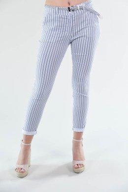 Τρίχρωμο μπλε ριγέ παντελόνι υφασμάτινο με τσεπάκια