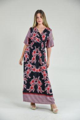 Μαύρο εμπριμέ μακρύ φόρεμα μεσάτο με φαρδιά μανίκια