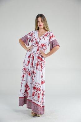 Λευκό εμπριμέ μακρύ φόρεμα μεσάτο με φαρδιά μανίκια