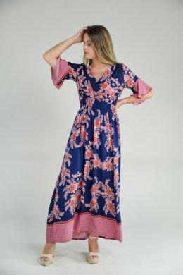 Μπλε εμπριμέ μακρύ φόρεμα μεσάτο με φαρδιά μανίκια
