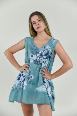 Φλοράλ ασύμμετρο φαρδύ μπλουζοφόρεμα με βολάν στο τελείωμα