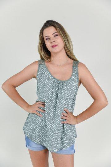 Φλοράλ αμάνικη μπλούζα φαρδιά, με κέντημα στη πλάτη