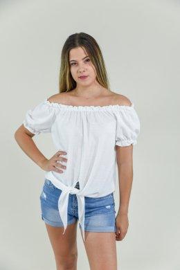 Μονόχρωμη μπλούζα με έξω τους ώμους και δέσιμο στο τελείωμα